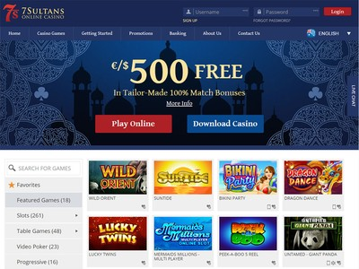 7 Sultans Casino Homepage Screenshot