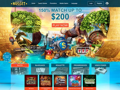 Lucky Nugget Casino Homepage Screenshot