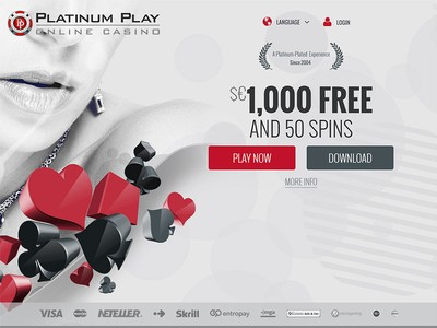 Platinum Play Casino Homepage Screenshot
