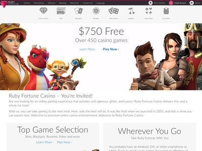 Ruby Fortune Casino Homepage Screenshot