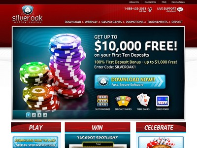 Silver Oak Casino Homepage Screenshot